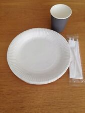Set Of Disposable Paper 8oz Cups GREY 7inch Plates Fork Knife Tableware Party