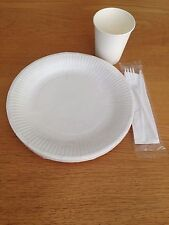 Set Of Disposable Paper 8oz Cups WHITE 7inch Plates Fork Knife Tableware Party