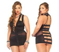 Leg Avenue Spandex Strappy Elastic Band Dress W/Mesh Panel, Plus Size 16, 18, 20
