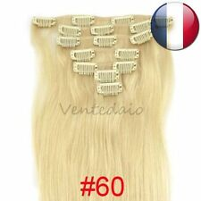 HAIR EXTENSIONS CLIPS 100% NATURAL REMY HAIR 53CM BLOND PLATINUM #60