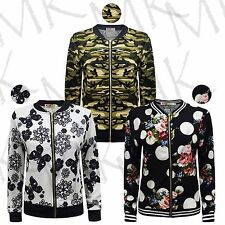 Women's Summer Bomber Camouflage Floral Polka Dots Print Front Zip Jacket Blazer