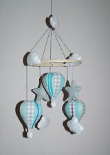 unisex hot air balloon nursery mobile mint grey with stars clouds various