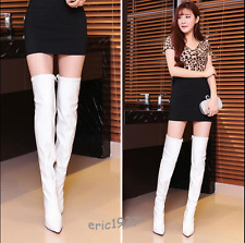 Women Patent Leather Over Knee Thigh High boots Pleated High Heels Stiletto Size