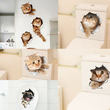 3D Vinyl Removable Wall Sticker Decal Kitten Animal for Bathroom Toilet Seat