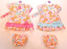 BNWT Baby Girls Floral Headband Pants & Dress Set Outfit Age 9 12 18 Months A14