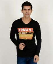 Branded Armani Full Sleeves Black V Neck High Quality T-Shirt Men & Boys-(8101)