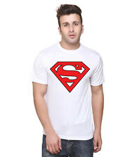 Slim Fit Men's T Shirt Red and White Superman T shirt