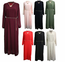 Womens Ladies chiffon necklace gold chain belted full sleeve cocktail maxi dress