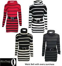 WOMENS LADIES  KNIT BELT STRIPED POLO NECK JUMPER KNITTED LONG DRESS TOP 8-14