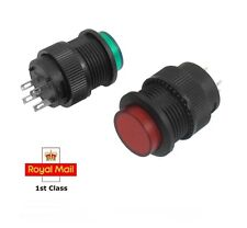 2 x 4 Terminals GREEN / RED LED Lamp Momentary Push Button Switch
