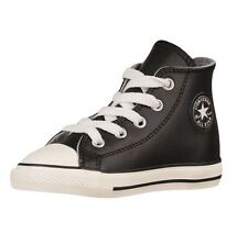 CONVERSE Toddler/Baby ALLSTAR Black Chuck Taylor HI Youth Sneakers Leather BNIB