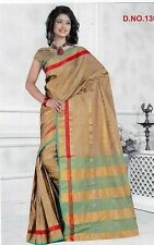 Designer Golden Border Saree With Free Earings