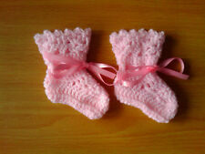 Handmade Crocheted Baby Girl Bootees with picot edge100% Acrylic various colours