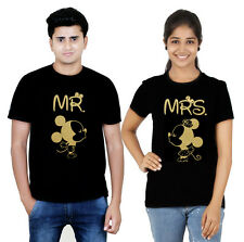 Premium Couple T Shirt Black Gold Collection Mr and Mrs Mickey (Osiyankart) 53