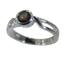 beauteoIN Smoky Quartz 925 sterling silver Brown Ring handcrafted L-1.2in IN 7,