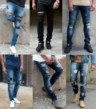 Mens Loyalty Skinny Stretch Denim Designer Distress Ripped Repair Stylish Jeans
