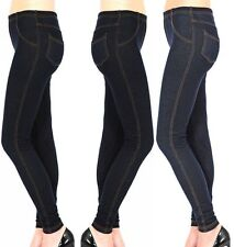 New Women's Ladies Plus Size Stretchy Denim Look Skinny Jeggings Leggings 14-34