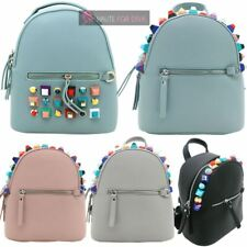 LADIES NEW FAUX LEATHER MULTICOLOUR STUD DECORATION TRAVEL COLLEGE BACKPACK