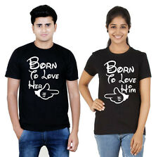 Osiyankart black couple t-shirt Born to love her born to love him 4 all sexy lov
