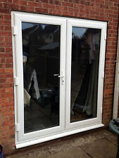 White uPVC French Doors - Made to Measure - White handles, GOLD spacer bars
