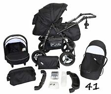 Classic Baby Pram Pushchair 2in1 or 3in1 stroller travel system – Black 41