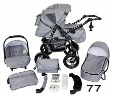 Classic Baby Pram Pushchair 2in1 or 3in1 stroller travel system – Grey 77
