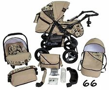 Classic Baby Pram Pushchair 2in1 or 3in1 stroller travel system – Beige 66