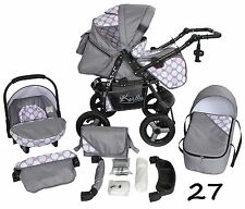 Classic Baby Pram Pushchair 2in1 or 3in1 stroller travel system – Grey Dots 27