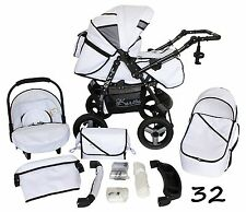 Classic Baby Pram Pushchair 2in1 or 3in1 stroller travel system – White