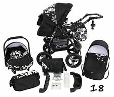Classic Baby Pram Pushchair 2in1 or 3in1 stroller travel system – Black White