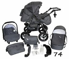 Classic Baby Pram Pushchair 2in1 or 3in1 stroller travel system – Grey 74