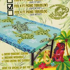 """Hawaiian Fitted Tablecloth 48x30"""" picnic table Luau party cover Red Blue golden"""