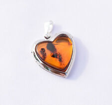 Amber Heart Pendant Cute Pure baltic amber gift Genuine Handmade Silver color