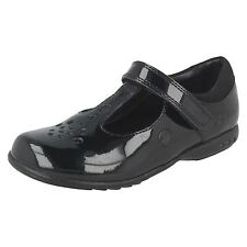 Clarks Girls Trixi Pip Black Patent T-Bar Strap School Shoes With Lights