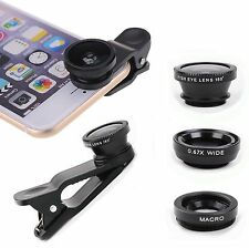 Universal 3in1 Clip On Camera Lens Kit Wide Angle Fish Eye Macro Samsung iPhone