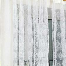 French Style Lace Window Grommet Blackout Divider Curtains Set of 2 Panel White