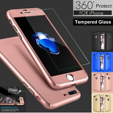360° Protective Hard Thin Case Cover+Tempered Glass For Apple iPhone