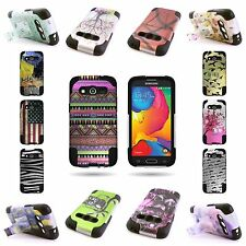 For Samsung Galaxy Avant Heavy Duty Design Hybrid Case w/ Kickstand Co