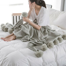 Soft Knitted Cotton Air Conditioning Blanket 90x90cm Throw Blanket with Pom Poms