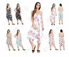 Ladies Womens Cami Strappy Baggy Lagenlook Romper Hareem Playsuit Jumpsuit Dress