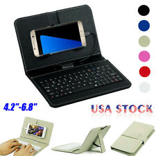 Wired Leather Keyboard Flip Case Cover For Andriod Mobile Phone 4.2''-