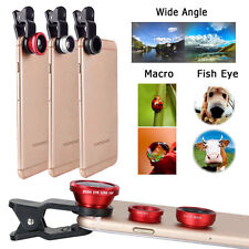 3 in1 Fish Eye Wide Angle Macro Camera Clip-on Lens Kit for iPhone 7 /