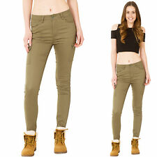 New Womens Army Green High Rise Slim Skinny Stretch Combat Trousers Cargo Pants
