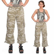 New Womens Army Military Brown Camouflage Cargo Combat Shorts 3/4 Trousers Pants