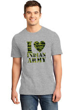 T Shirts for Men Independence day t shirts I love Indian Army IDT013_grey