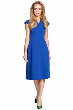 MOE M312 Fitted, flare cap sleeve, knee-length dress royal blue s 8 10 12 14 16