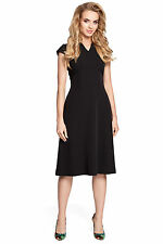 MOE M312 Fitted, flare cap sleeve, knee-length dress in black size 8 10 12 14 16