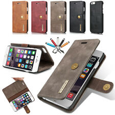 Magnetic Removable Leather Flip Wallet Card Slot Case Cover For iPhone