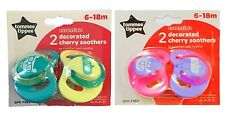 Tommee Tippee Cherry Natural Latex 2 Pack BPA Free Baby Soother Dummy 6/18 Mths