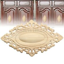 25x15cm Wood Carved Craft Applique Frame Onlay Unpainted Furniture Door Decor